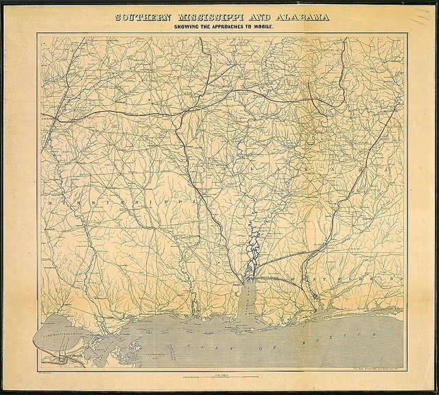 Southern Mississippi and Alabama Showing the Approaches to Mobile. U.S. Coast Survey Office . . . 1863. Edw. Molitor, Lith.