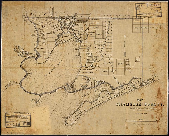 Map of Chambers County. Copied, for the use of the C. S. Army, in the Gl. Land Ofice of the State of Texas, January 2, 1863.