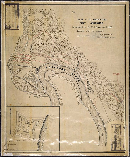 [Map and inset ground] Plan of the Fortification [Fort Hindman] at Post, Arkansas, Surrendered to the U.S. Forces Jan. 11th, 1863. Destroyed after the evacuation. Surveyed & drawn by Julius Pitzman, Capt., & A.D.C. to Maj. Genl. Sherman.