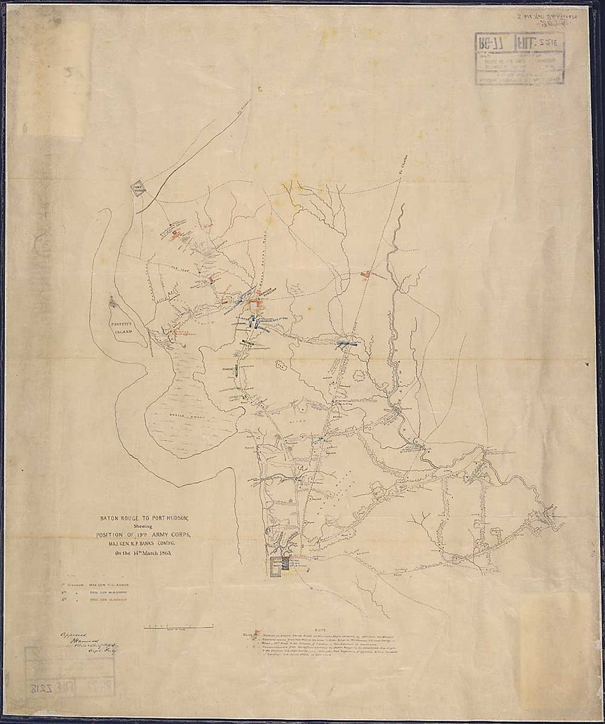 Baton Rouge to Port Hudson. Showing Position of 19th Army Corps, Maj. Gen. N. P. Banks, Com'd'g., on the 14th March 1863.