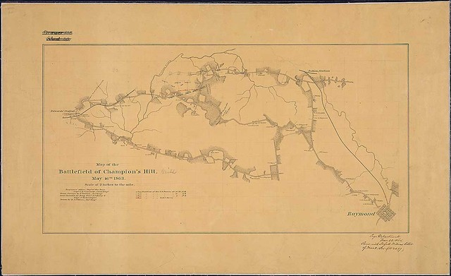 Map of the Battlefield of Champion's [sic] Hill, May 16th, 1863 ... Engineers' Office, Dept. of the Tenn., Capt. C. B. Comstock, Chief Engr. From Surveys by F. Tunica, Asst. Engr., and Sketches by Brig. Genl. A. P. Hovey & Capt. A. Hickenloper [sic]. Drawn by H. A. Ulffers, Asst. Engr.