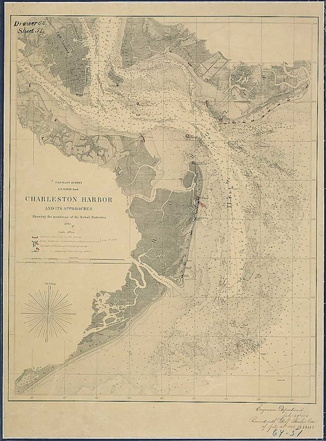 Charleston Harbor and its Approaches Showing the positions of the Rebel Batteries, 1863 [and annotated to show the status of the siege of the city, July 17, 1863]