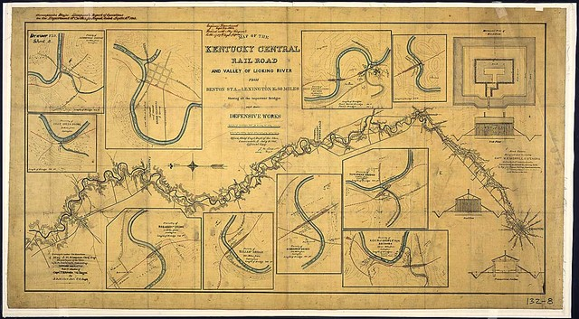 Map of the Kentucky Central Rail Road and Valley of Licking River from Benton Sta. to Lexington, Ky., 80 miles, Showing all the important Bridges and their Defensive Works. Surveyed under the direction of Maj. J. H. Simpson, Chief Engr., Department of the Ohio, by G. A. Aschbach, Asst. U. S. Engr. Sketched and Platted Under the direction of Capt. T. B. Brooks, Vol. Engrs., By A. B. Miller, Asst. U. S. Engr.