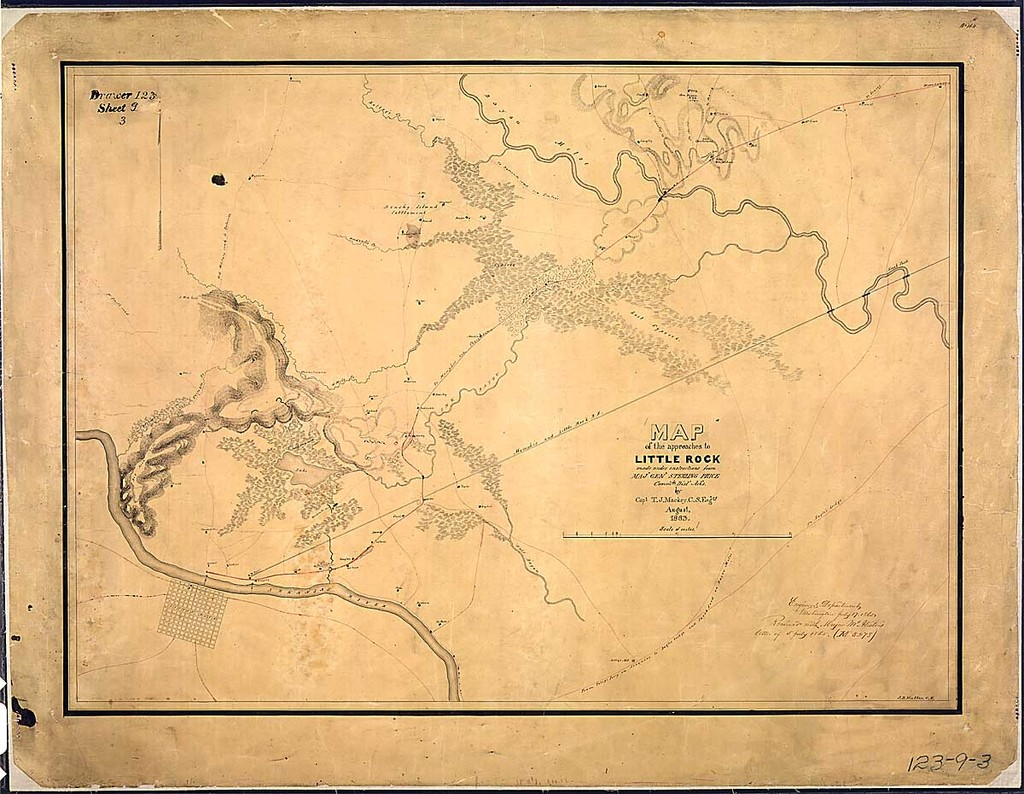 Map of the approaches to Little Rock made under instructions from Maj. Gen. Sterling Price, Comm'dg. Dist. Ark's., by Capt. T. J. Mackey, C. S. Eng'rs., August 1863. J. D. Hutton, C. E.