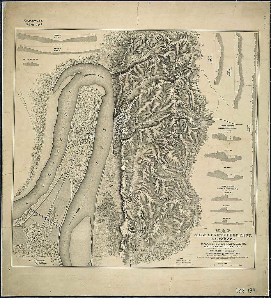 Map of the Siege of Vicksburg, Miss., By the U. S. Forces Under the Command of Maj. Genl. U. S. Grant, U. S. Vls., Maj. F. E. Prime, Chief Engr. Surveyed and constructed under direction of Capt. C. B. Comstock, U.S. Engrs., and Lt. Col. J. H. Wilson, A. I. Genl. 1st Lt., Engrs....Drawn by Chs. Spangenberg, Asst. Engr.