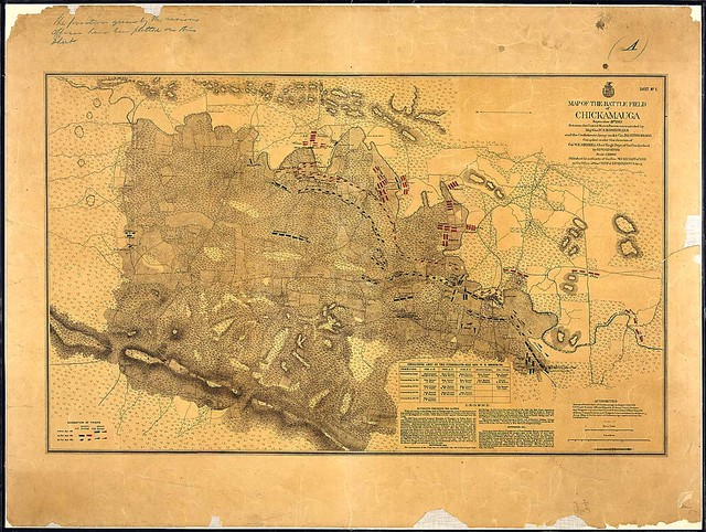 Sheet No. 1. Map of the Battle Field of Chickamauga, September 19th, 1863, Between the United States Forces commanded by Maj. Gen. W. S. Rosecrans and the Confederate Army under Gen. Braxton Bragg. Compiled under the direction of Col. W. E. Merrill, Chief Engr., Dept. of the Cumberland, by Edward Ruger...Published by authority of the Hon. Secretary of War in the Office of the Chief of Engineers, U. S. Army.