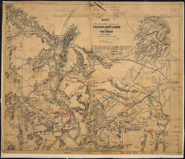 Map to Show Lines of March of Second Army Corps and The Enemy, Oct. 14, 1863. [between Warrenton and Bristoe Station]...from reconnaissances after the movement...[signed] G. K. Warren, Maj. Genl., Vols.