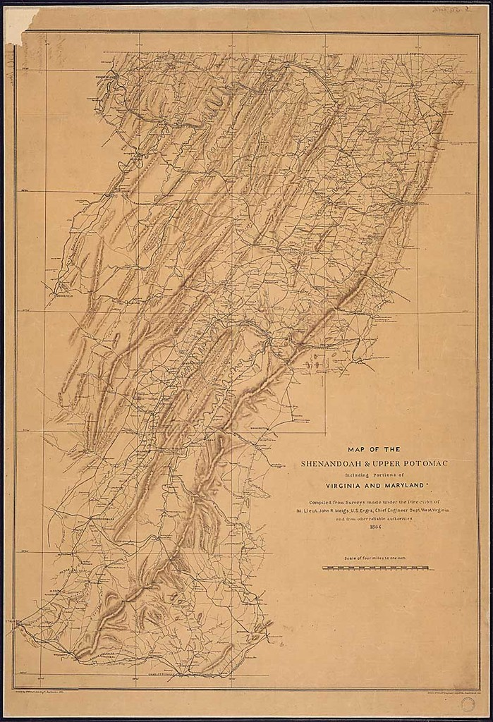 Map of the Shenandoah & Upper Potomac Including Portions of Virginia, [West Virginia], and Maryland. Compiled from Surveys made under the Direction of 1st Lieut. John R. Meigs, U. S. Engrs., Chief Engineer Dept. West Virginia, and from other reliable authorities, 1864.