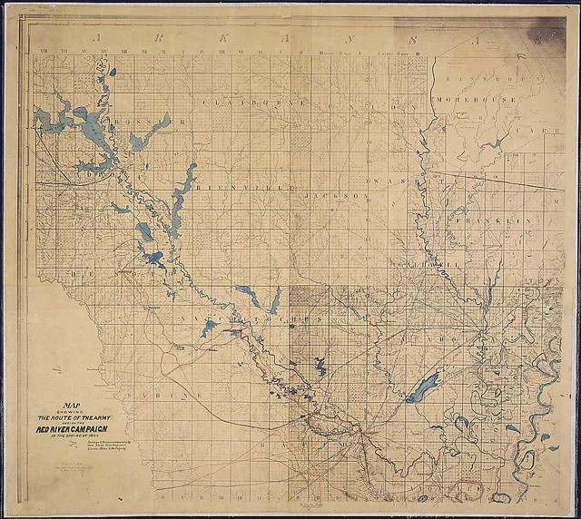 Map Showing the Route of the Army During the Red River Campaign in the Spring of 1864. Surveys & Reconnoissances by Osw. Dietz, Civil Engineers, [and] Lieuts. Miles & McGregory.