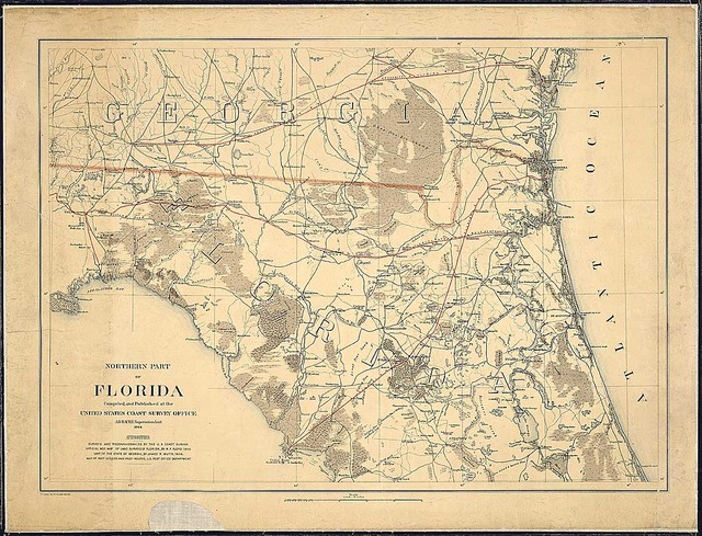 Northern Part of Florida. Compiled and Published at the United States Coast Survey Office, A. D. Bache, Superintendent. 1864. Drawn by H. Lindenkohl.