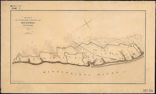 Sketch of Fortifications [Fort Pickering] at Memphis, Tennessee, 1864, drawn by C. Spangenberg, Asst. Engr.