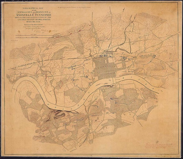 Topographical Map of the Approaches and Defenses of Knoxville, E. Tennessee, Shewing the Positions Occupied by the United States & Rebel Forces during the Siege. Surveyed by direction of Capt. O. M. Poe, Chf. Engr., Dept. of the Ohio, during Dec., Jan., and Feb., 1863-4, by [signed] Cleveland Rockwell, Sub. Asst., U.S. Coast Survey, [and] R. H. Talcott, Aid ... Drawn by C. Rockwell.