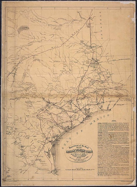 Eastern & Central Texas, Prepared by Order of Maj. Gen. N.P. Banks. Major D.C. Houston, Chief of Engineers, Feb. 1864 . . . F. D'Avignon, B. v. Reizenstein, Delns.