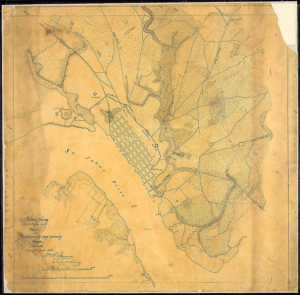 Map of Jacksonville and vicinity, Florida, [showing defenses]. Surveyed April 1864. [Signed] Wm. H. Dennis, U. S. Coast Survey.