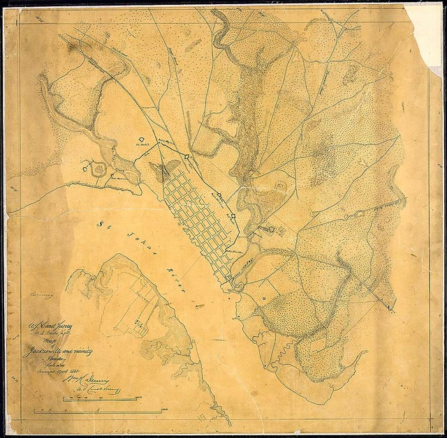 Map of Jacksonville and vicinity, Florida, [showing defenses]. Surveyed April 1864. [Signed] Wm. H. Dennis, U. S. Coast Survey.