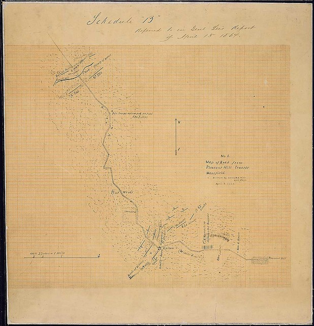 No. 1. Map of Road from Pleasant Hill towards Mansfield. Surveyed by Lieut. E. C. Miles, Assistant Engr., April 7, 1864.