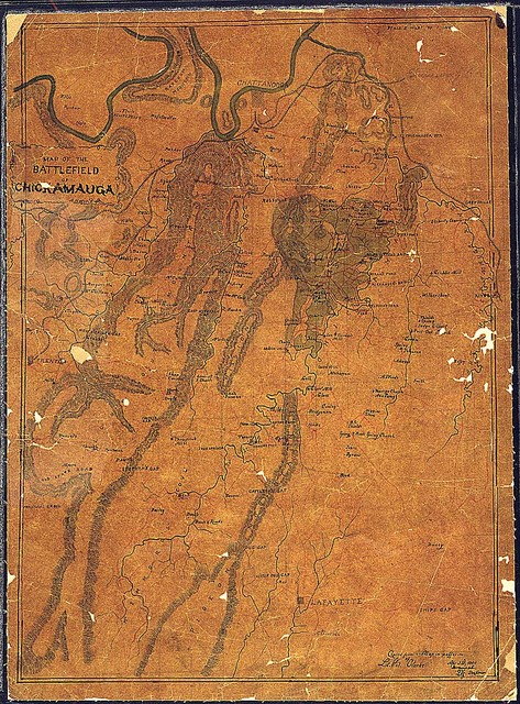 Map of the Battlefield of Chickamauga, A. Hager [or Huger] Draft.