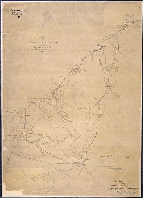 Map of Route [from Little Rock to Camden via Arkadelphia, and return] pursued by Army commanded by Maj. Gen. Fredk. Steele From March 24th till May 2nd, 1864. Drawn, May 1864 by Lt. Fred. Sommer, Engineer Staff of Maj. Gen. Steele.