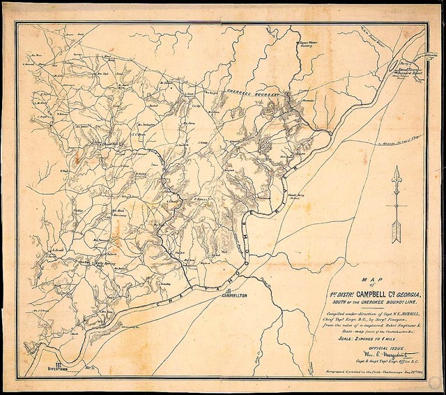 Map of 1st Distrt., Campbell Co., Georgia, South of the Cherokee Boundary Line. Compiled under direction of Capt. W. E. Merrill, Chief Topl. Engr., D. C., by Sergt. Finegan from the notes of a captured Rebel Engineer & State map (south of the Chattahoochee Riv.)...Autographed & printed in the field. Chattanooga, May 23d, 1864.