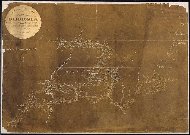 Information Map of Part of Georgia [in the vicinity of Pumpkin Vine Creek]. Printed at Engr. Office, Head-Q's. Dep't. of the Cumberland, in the field, May 30th, 1864.