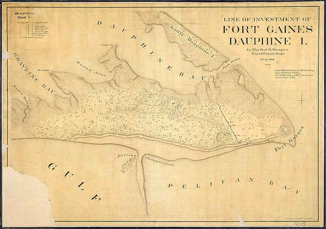 Line of Investment of Fort Gaines, Dauphine Island, by Maj. Genl. g. Granger's Expeditionary Corps, Aug. 1864. Capt. M. D. McAlester, U.S.E, Chief Engr., [and] Capt. J. C. Palfrey . . . 1st Lt. A. H. Burnham . . [and 1st Lt. C. J. Allen, U.S.E., Assistants. Drawn by Ch. Spangenberg, Asst. Engr.