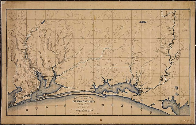 Pensacola & Vicinity. Prepared by Order of Capt. P. C. Hains, Act. Chief Engineer, [Department of the Gulf], Under direction of Lt. H. C. Prevost, Adjt. Compiled from Maps & Information obtained by C. D. Elliot, Asst. C. E., Major D. C. Houston, Chief Engineer of Dept. Litho. by Lt. McGregory; transferred and printed by W. Probert, August 1864.