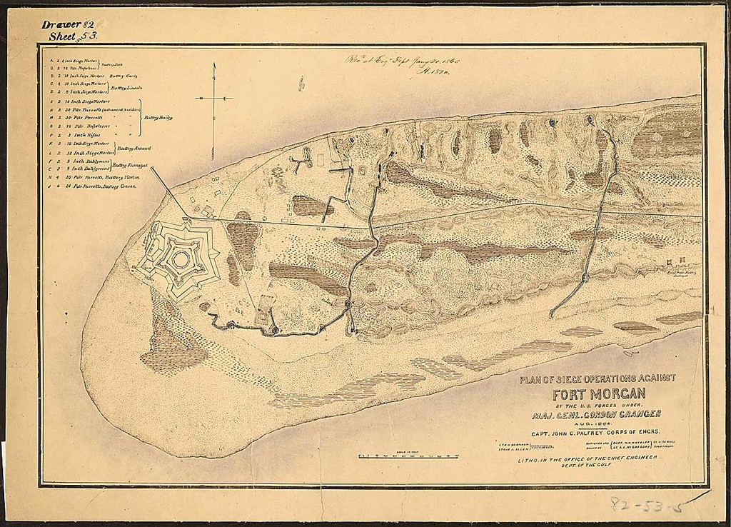 Plan of Siege Operations Against Fort Morgan by the U.S. Forces, under Maj. Genl. Gordon Granger, Aug. 1864. Capt. John C. Palfrey, Corps of Engrs., Lt. A. H. Burnham, [and] Lt. Chs. J. Allen, Corps of Engrs., in charge of works. Surveyed and Drawn by Capt. W. H. Wheeler [and] Lt. S. E. McGregory, Co. A., 96 U.S.C.I. Engr. Troops. Litho. in the Office of the Chief Engineer, Dept. of the Gulf.