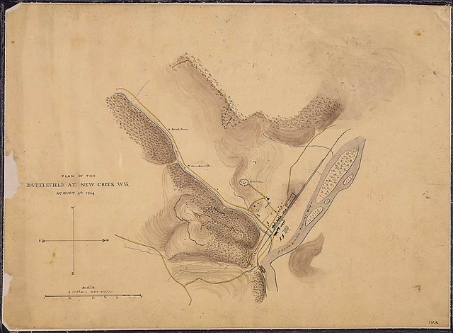 Plan of the Battlefield at New Creek, W. Va., August 4th, 1864.