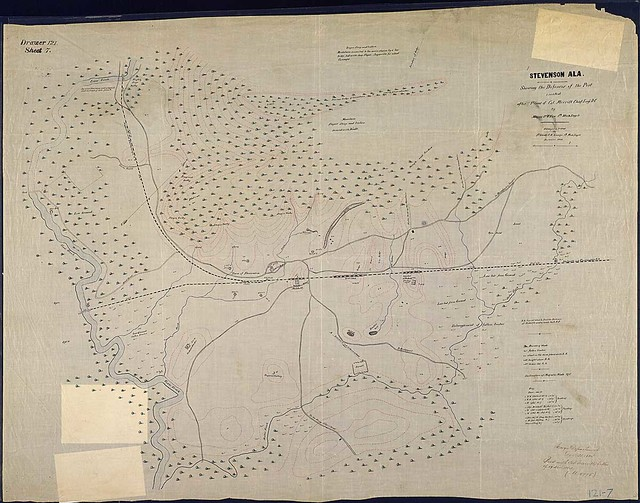 Stevenson, Ala., Showing the Defenses of the Post erected after Plans of Col. Merrill, Chief Engr., D[epartment of the] C[umberland]. By Major P. V. Fox, 1st Mich. Engr's. Surveyed & Plotted by 1st Lieut. C. A. Ensign, 1st Mich. Engr's. September 1864.