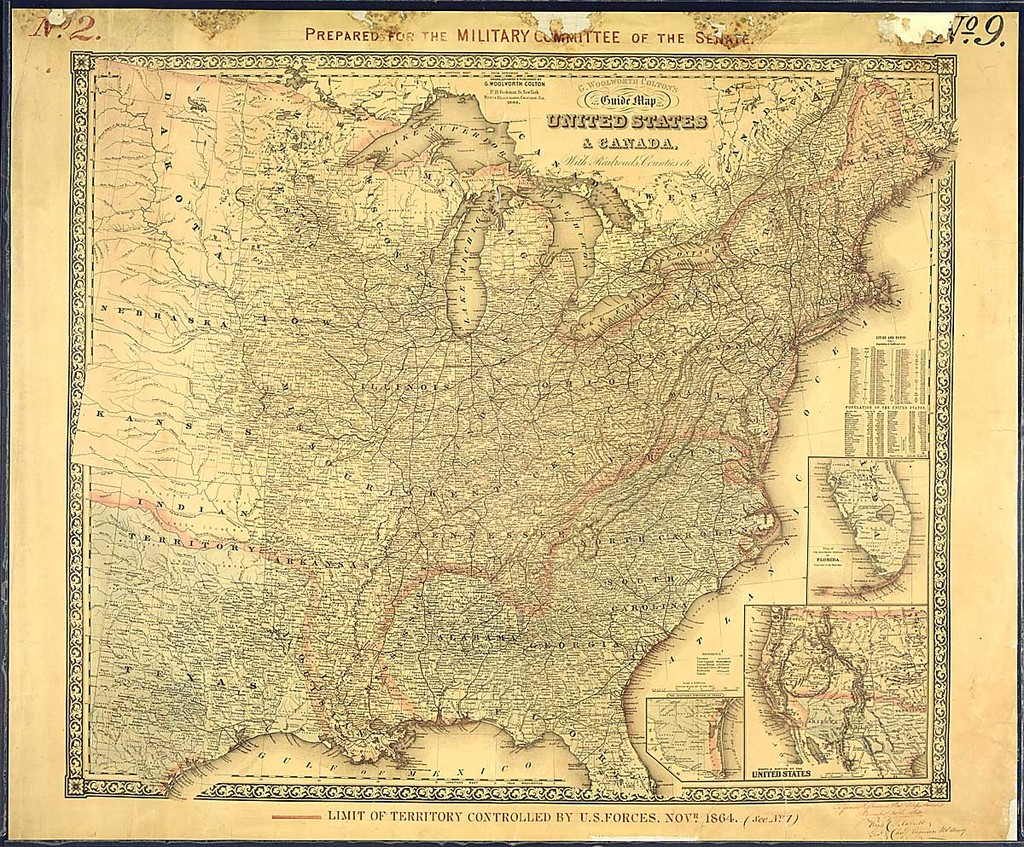 Limit Of Territory Controlled By Us Forces Novr 1864 Us - Us-map-1864