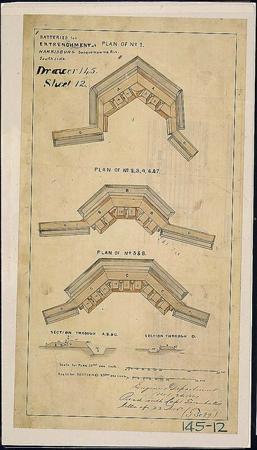 Batteries for Entrenchment at Harrisburg, Susquehanna Riv. South sie. [Panel of plans and sections.]