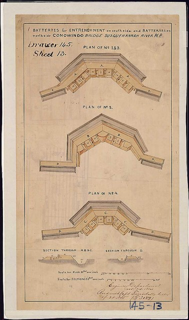 Batteries for Entrenchment on south side and Batteries on north side, Conowingo Bridge, Susquehannah [sic] River; Md. [Panel of plans and sections.]