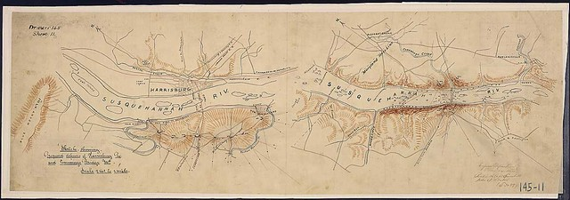 Sketch showing Proposed defences of Harrisburg, Pa., and Conowingo Bridge, Md