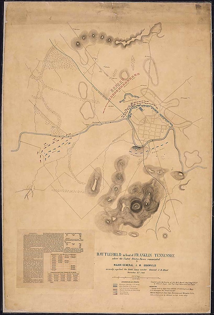 Battlefield in front of Franklin, Tennessee, where the United States Forces commanded by Major General J. M. Schofield severely repulsed the Rebel Army under General J. B. Hood, November 30th, 1864. Compiled under the Direction of Col. W. E. Merrill, Chief Engr., D. Cd., by Edward Ruger, Supt., Topl. Engr. Office, Milty. Divn. Tenn....Surveys made by Major James R. Willett, 1st U.S.V.V. Engrs., and Major I. J. S. Remington, 74st Illinois V. V. Infy.