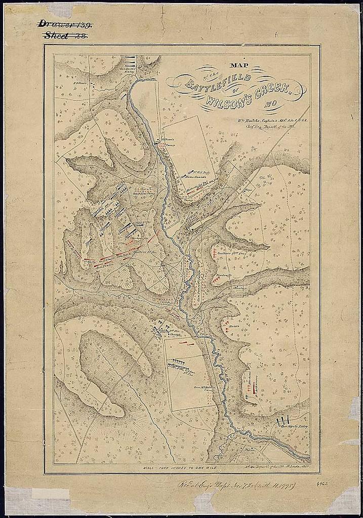 Map of the Battlefield of Wilson's Creek, Mo. Wm. Hoelcke, Captain & Addl. A. de. C., U.S.A., Chief Eng., Departt. of the Mo. [Dated] Hd. Qu., Departt. of the Mo., St. Louis, 1865.