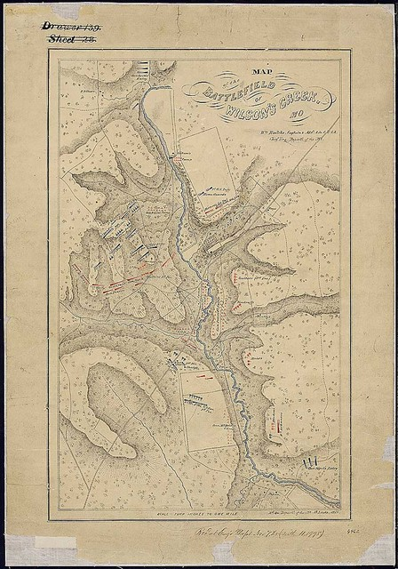 Map of the Battlefield of Wilson's Creek, Mo. Wm. Hoelcke, Captain & Addl. A. de. C., U.S.A., Chief Eng., Departt. of the Mo. [Dated] Hd. Qu., Departt. of the Mo., St. Louis, 1865.