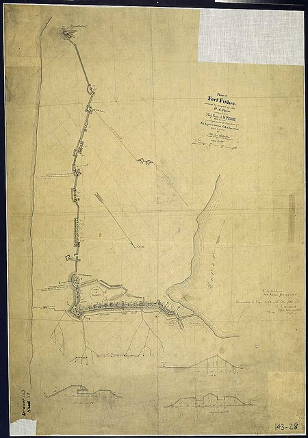 Plan [and cross sections] of Fort Fisher carried by assault by the U.S. Forces commanded by Maj. Gen. A. H. Terry, Jan. 15, 1865; surveyed under the Direction of Bvt. Brigadier General C. B. Comstock, Chief Engineer, by Otto Jul. Schultze, Private, 15th Rgt., N.Y.V. Engineers.