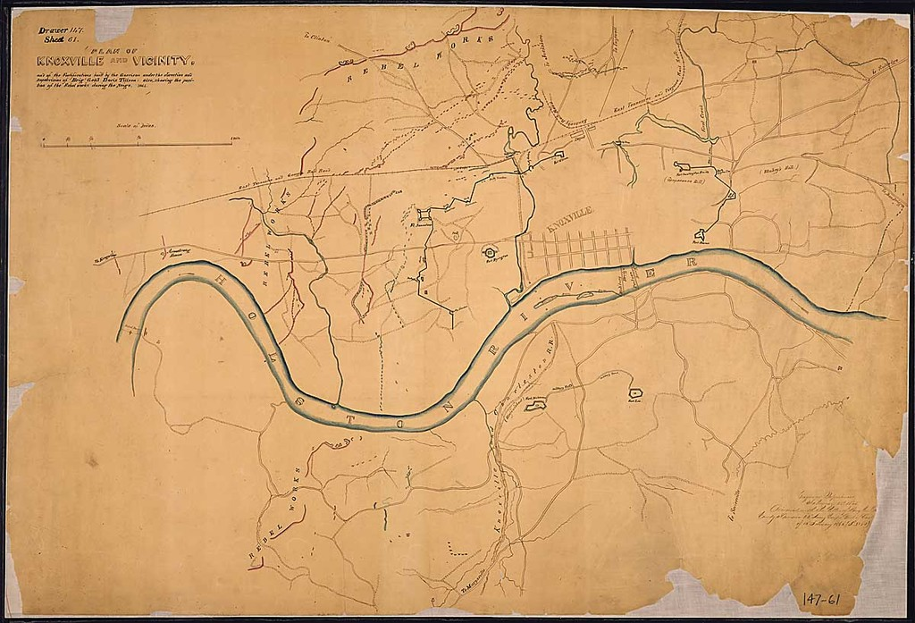 Plan of Knoxville and Vicinity and of the Fortifications built by the Garrison under the direction and Supervision of Brig'. Gen'l. Davis Tillson, also showing the position of the Rebel works during the Siege, 1864.
