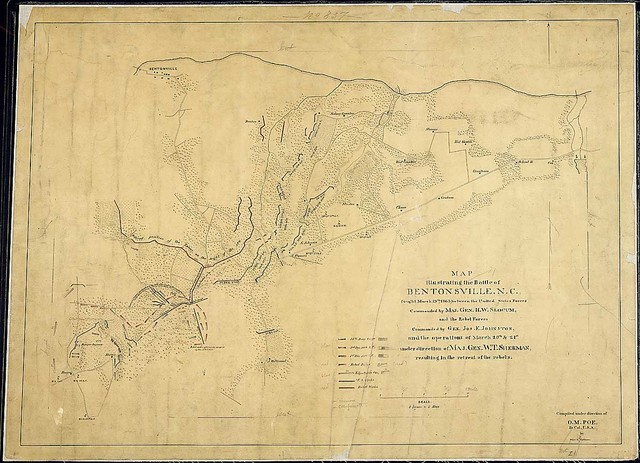 Map illustrating the Battle of Bentonsville, N.C., fought March 19th, 1865, between the United States Forces Commanded by Maj. Gen. H. W. Slocum and the Rebel Forces Commanded by Gen. Jos. E. Johnston, and the operations of March 20th & 21st under direction of Maj. Gen. W. T. Sherman resulting in the retreat of the rebels. Compiled under direction of O. M. Poe, Br. [Bvt.] Col., U.S.A., by Major E. [F.] Hoffmann.