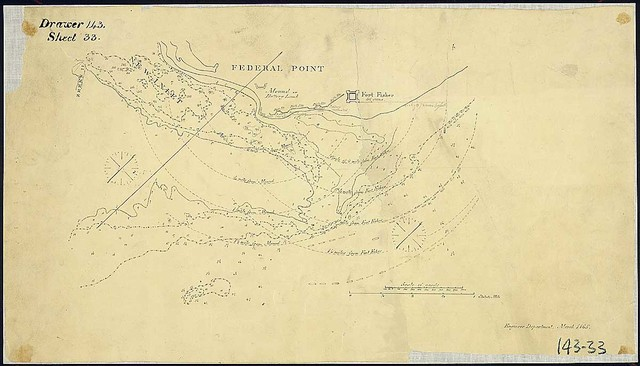 "[Map of Federal Point, N.C., showing radia from Fort Fisher and Mound or Battery Lamb at 1/4 mile intervals form 1/2 to 1 1/4 miles and positions of blockading fleet.] Dated ""Engineer Department, March 1865."""
