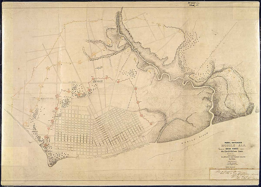 Map No. 1. Rebel Defences, Mobile, Ala., occupied by Union Forces under Maj. Gen. E. R. S. Canby, Comdg., April 12th 1865. Drawn by order of Maj. McAlester, Chief Engineer, Army and Div. West Miss., Under Direction of Lt. S. E. McGregory, Comdg. Topographical Party.