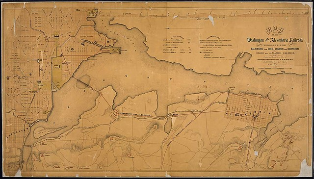Map of the Washington and Alexandria Railroad and its Connections with the Baltimore and Ohio, Loudon and Hampshire, and Orange and Alexandria Railroads. Compiled and Drawn at the Office of Chief Engineer and General Superintendent, U. S. Mil. R. Rds. of Va., Alexandria, Va., May 1865, By W. M. Merrick, Draughtsman.