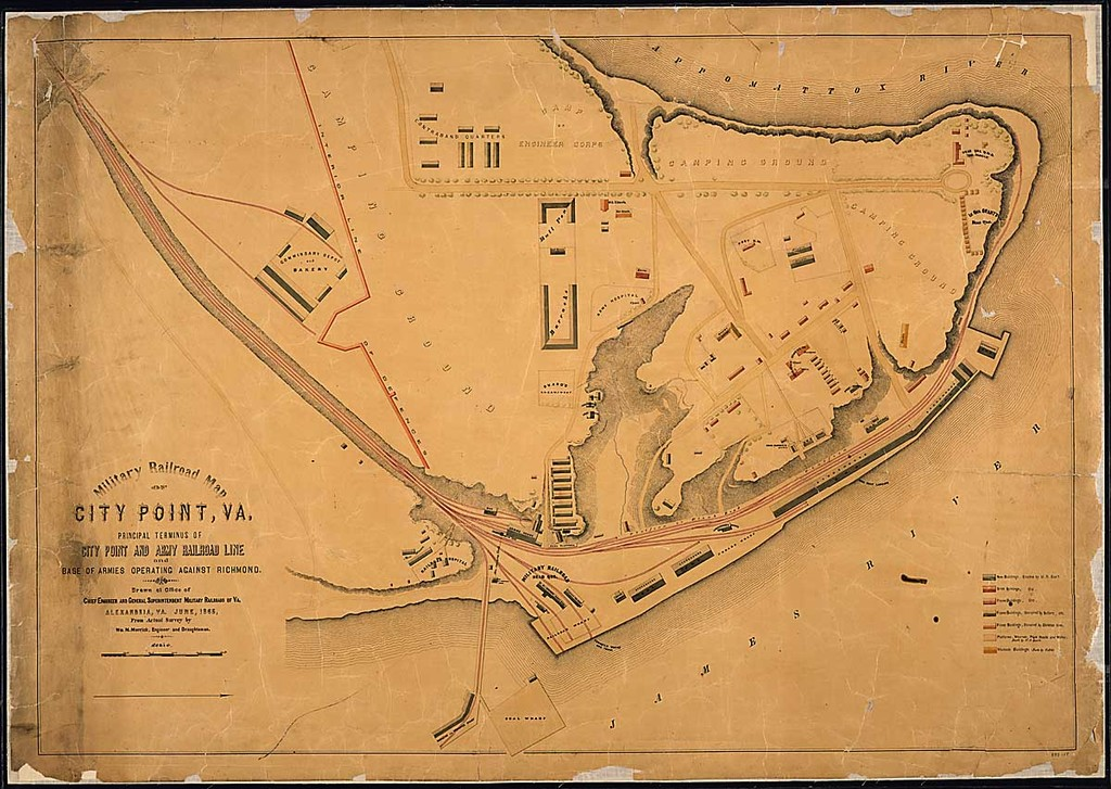 Military Railroad Map of City Point, Va., Principal Terminus of City Point and Army Railroad Line and Base of Armies Operating Against Richmond. Drawn at Office of Chief Engineer and General Superintendent, Military Railroads of Va., Alexandria, Va., June 1865, From Actual Survey by Wm. M. Merrick Engineer and Draughtsman.