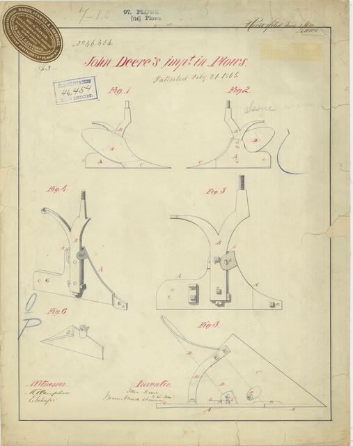 Patent Drawing for John Deere's Improvement in Plows