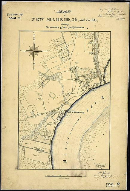 Map of New Madrid, Mo., and Vicinity, showing the position of the fortifications. Surveyed & drawn by Louis Boedicker, 1st Lieut., 2nd Mo. Arty., Assistant Eng.