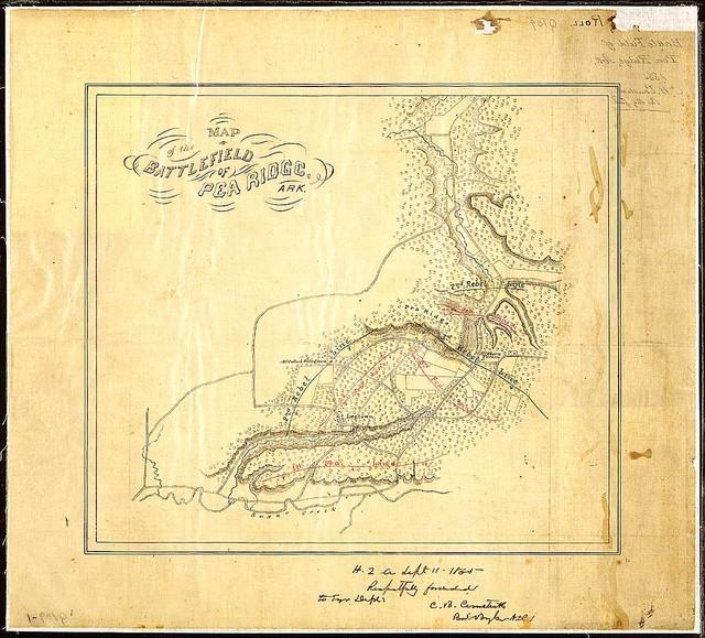 Map of the Battlefield of pea Ridge, Ark