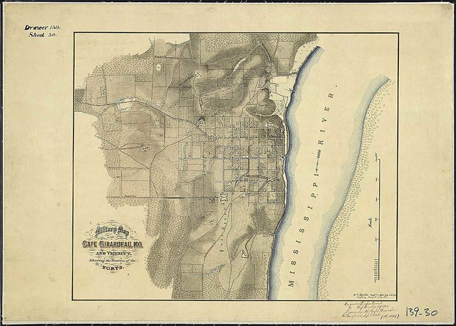 Military Map of Cape Girardeau, Mo., and Vicinity, Showing the location of the Forts. Wm. Hoelcke, Captn. & Addl. A. de. C., U.S.A., Chief Eng., Departt. of the Mo.