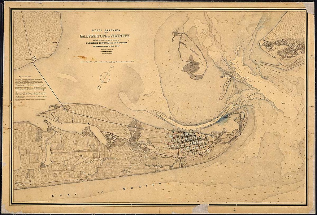 Rebel Defenses of Galveston and Vicinity, Surveyed and Drawn by order of G. L. Gillespie, Brevet Major & Chief Engineer, Miliary Division of the Gulf, Under the Direction of Lt. S. E. McGregory, Comdg. Topl. Party, Oct. 1865.