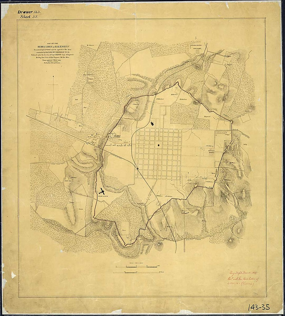 Map of the Rebel Lines at Raleigh, N.C., Evacuated April 13th, 1865 ...