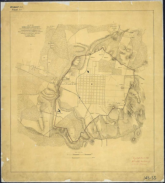 Map of the Rebel Lines at Raleigh, N.C., Evacuated April 13th, 1865, upon the approach of the Army commanded by Maj. Gen. W. T. Sherman, U.S.A. Reduced under the direction of Capt. O. M. Poe, Corps of Engineers, Bvt. Brig. Gen., U.S.A. & Chief Engineer, Mil. Div. Miss. From captured Rebel map. B. Drayton, Draughtsman.